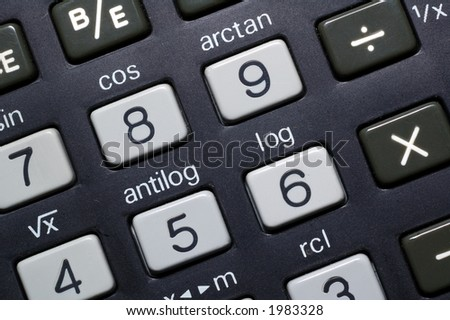 Closeup of early battery powered scientific calculator