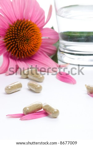 Closeup of Echinacea extract pills, fresh Echinacea flowers and glass of water best suited for alternative medicine ads. Shallow DOF. - stock photo