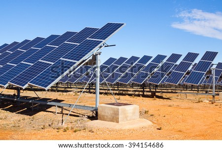 Closeup of electric solar panel system at desert  - stock photo