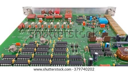 Closeup of electronic circuit board  - stock photo