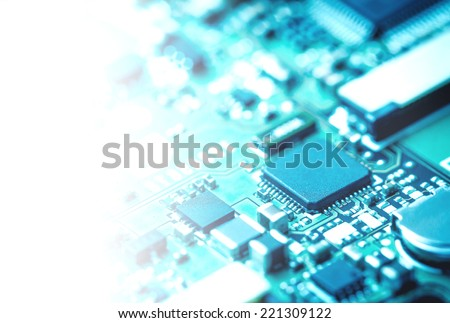 Closeup of electronic circuit board and sensor  - stock photo