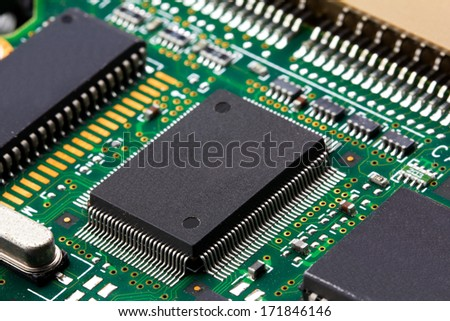 Closeup of electronic Circuit board with Microchips