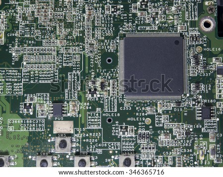 Closeup of electronic circuit board with processor,fixing computer,fix computer - stock photo
