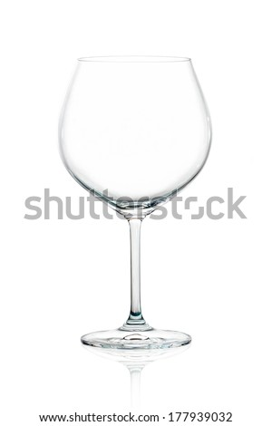 Closeup of empty balloon glass for red wine isolated on white background