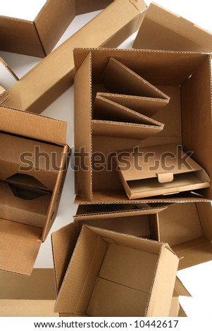 Closeup of empty cardboard boxes, from above. - stock photo