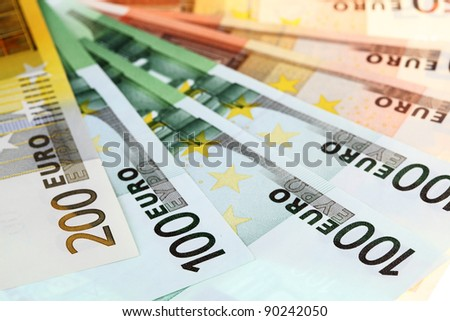 Closeup of euro banknotes, fan made of euro paper currency