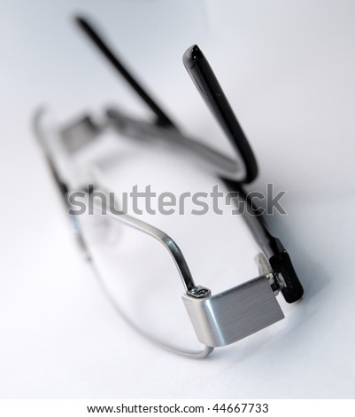 Closeup of eye glasses - stock photo