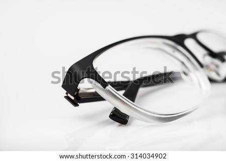 Closeup of eye glasses background - stock photo