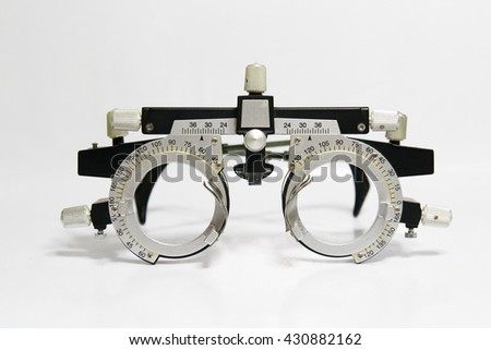 Closeup of eye test glasses - stock photo