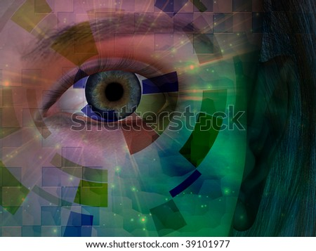 Closeup of eye with abstract - stock photo