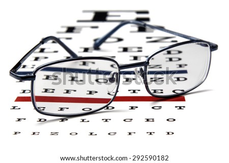 Closeup of eyeglasses and test chart.Studio shot.