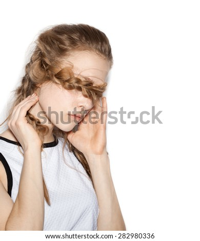 Closeup of  Fashion girl hipster with pigtails closing her eyes hair.  White background, not isolated - stock photo