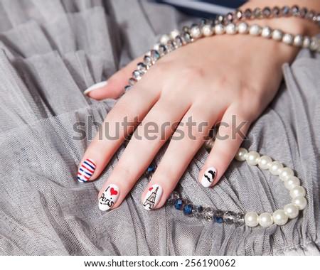 Closeup of fashion nails - stock photo
