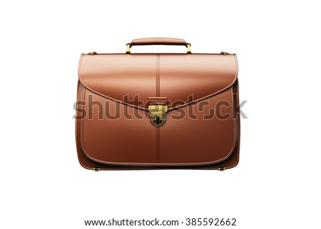 Closeup of fashionable leather briefcase  on white. Business concept - stock photo
