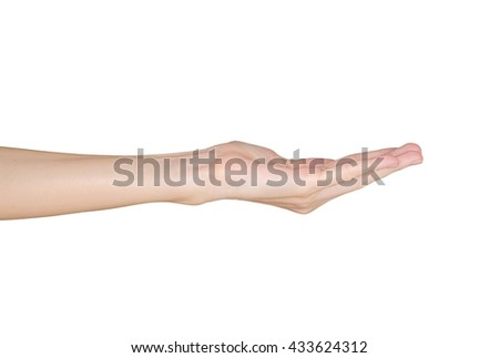 Closeup of female hand holding. Isolated on white background.