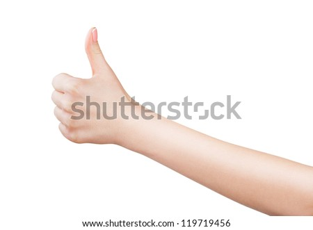 Closeup of female hand showing thumbs up sign against isolated on white background - stock photo