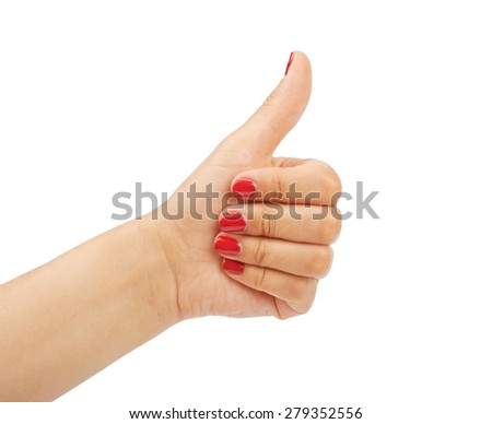 Closeup of female hand showing thumbs up sign isolated against white background - stock photo