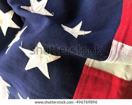 Closeup of flag that was carried into battle