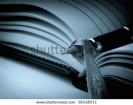 Closeup of fountain pen on a open diary book. Cyan toned image. - stock photo