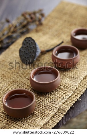 Closeup of  four cups on table, Chinese tea culture - stock photo