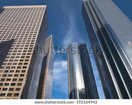 Closeup of four skyscrapers in Bunker Hill - stock photo