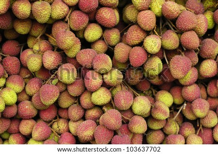 Closeup of fresh bunch of ripe and delicious Lychee fruits at local market - stock photo