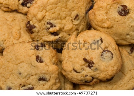 closeup of fresh chocolate cookies, good for background image - stock photo