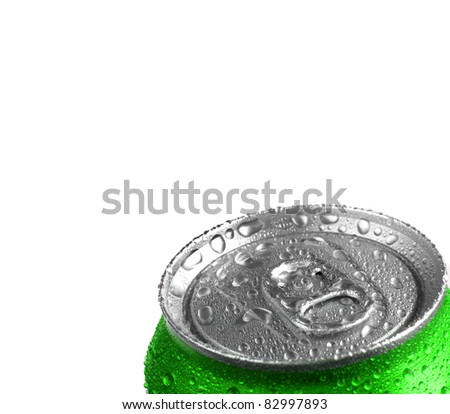 Closeup of fresh green soda or pop can with drops of water for freshness