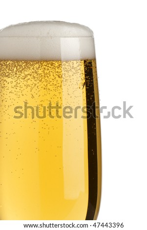 closeup of fresh pilsener beer with froth, isolated on white