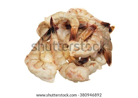 Closeup of fresh shrimp on white background