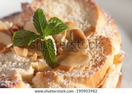Closeup of freshly baked bread pudding  - stock photo