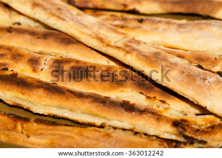 Closeup of freshly cooked cheese pie  - stock photo