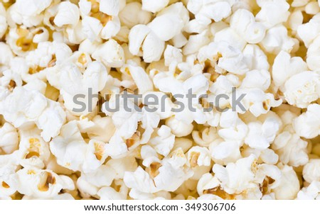 Closeup of freshly popped and natural popcorn in natural light