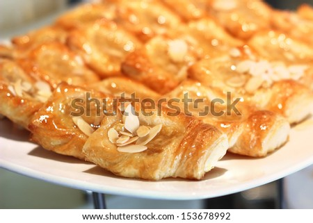 Closeup of fruit danish dessert on buffet line - stock photo