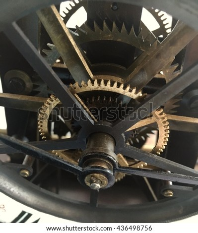 Closeup of gears from clock works with vintage style - stock photo