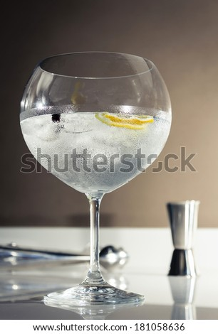 Closeup of gin tonic cocktail with ice, lemon and cardamom ready to serve over a club bar background - stock photo