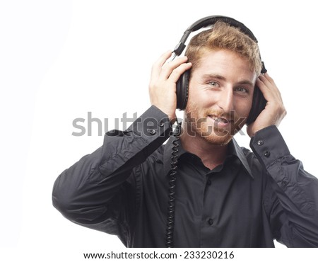 closeup of ginger young man with headphones
