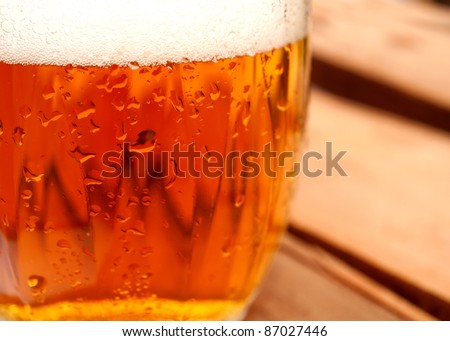 Closeup of Glass of Draught Bear in Pub