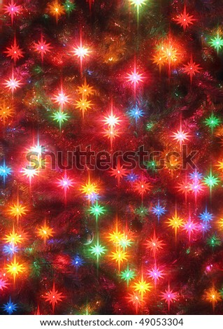 closeup of glowing christmas tree lights with star effect - stock photo