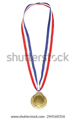 Closeup of gold medal on plain background - stock photo