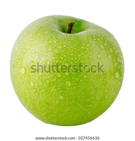 Closeup of green apple on white background. - stock photo