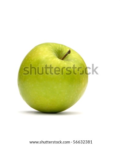 Closeup of green apple over white background