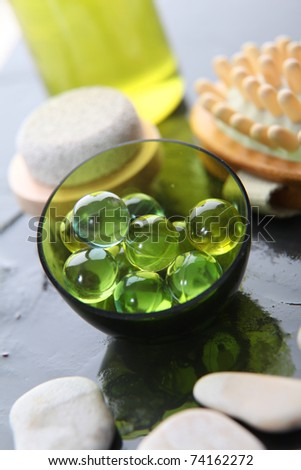 Closeup of green bath beads