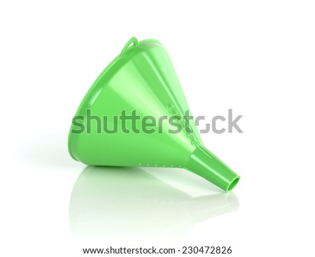 closeup of green funnel isolated on a white background - stock photo