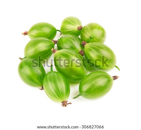Closeup of green gooseberry isolated on white background