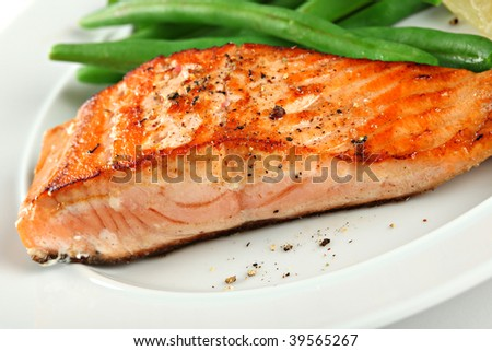 Closeup of Grilled Salmon Fellet with Green Beans Plate - stock photo