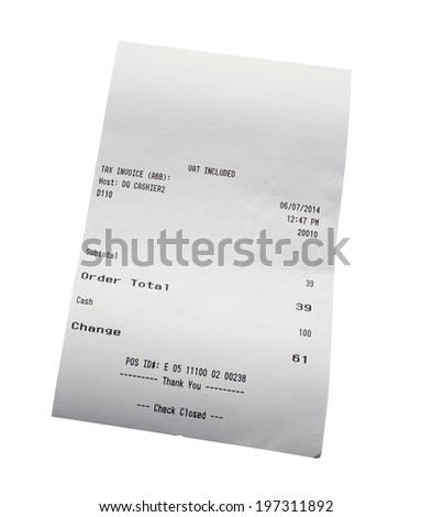 Closeup of grocery shopping receipt - stock photo