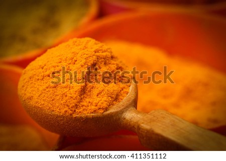 Closeup of ground turmeric in a spoon