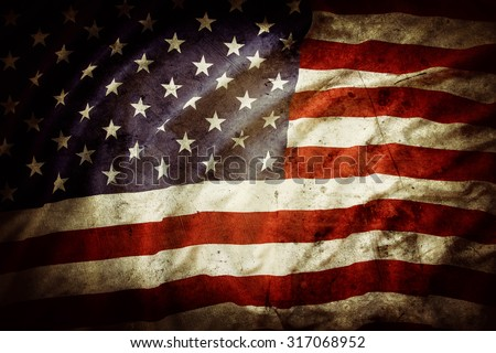 Closeup of grunge American flag - stock photo