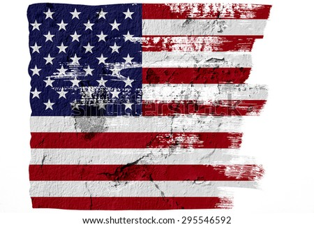 Closeup of grunge American flag - in paint brush design - stock photo